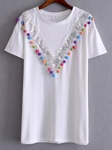 White Sequined And Pompom T-shirt