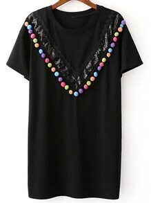 Black Sequined And Pompom T-shirt