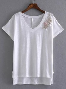 White V Neck Embroidered T-shirt