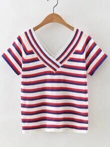 Blue And Red V Neck Striped T-shirt