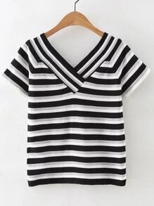 Black And White V Neck Striped T-shirt