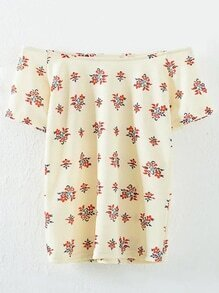 Apricot Off The Shoulder Floral Blouse