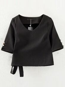 Black V Neck Tie Buttons Blouse