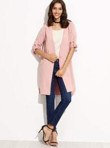 Pink V Neck Single Button Coat