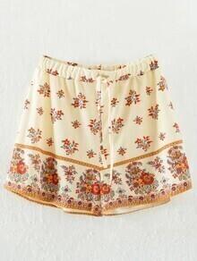 Apricot Floral Drawstring Waist Shorts