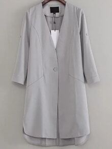 Grey V Neck Single Button Coat