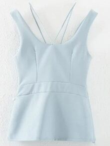 Blue Scoop Back Pierced Tank Top