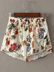Beige Floral Elastic Waist Shorts