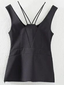 Black Scoop Back Pierced Tank Top