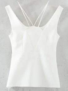 White Scoop Back Pierced Tank Top