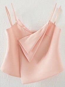 Pink Dual Strap Asymmetric Hem Cami Top