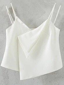 White Dual Strap Asymmetric Hem Cami Top
