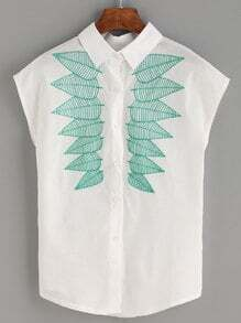 White Leaf Embroidered Cap Sleeve Blouse