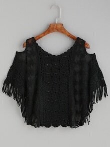 Black Crochet Insert Open Shoulder Embroidered Mesh Top