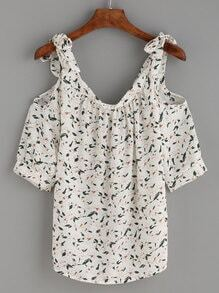 White Flower Print Tied Cold Shoulder Top