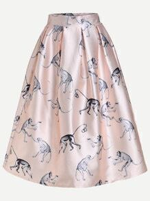 Pink Monkey Print Box Pleated Midi Skirt