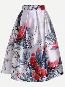 White Ink Painting Print Box Pleated Midi Skirt