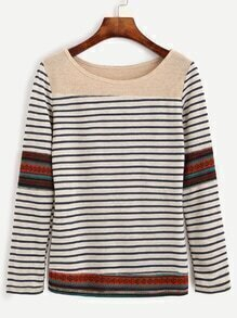 White Striped Contrast York T-shirt