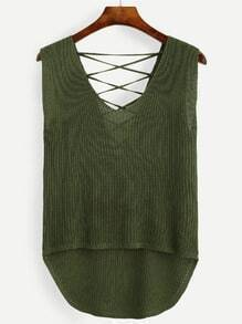 Olive Green Lace Up High Low Knit Tank Top