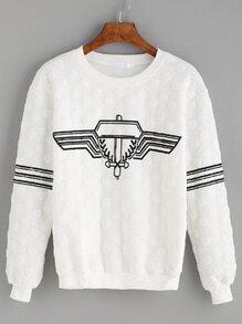 White Printed Textured Polka Dot Sweatshirt