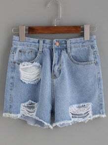 Blue Ripped Raw Hem Denim Shorts