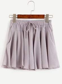 Grey Textured Drawstring Shorts