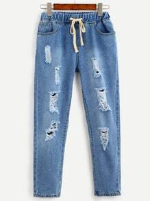 Blue Drawstring Waist Ripped Bleach Wash Jeans
