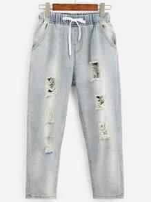 Blue Drawstring Waist Ripped Bleach Wash Jeans