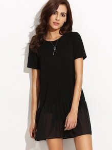 Black Chiffon Trim T-shirt
