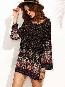 Black Ornate Print Bell Sleeve Dress