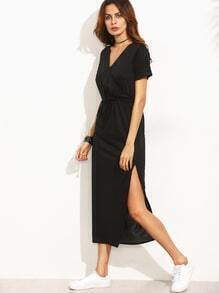Black Surplice Front Drawstring Waist Slit Midi Dress