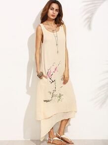 Apricot Blossom Branch Print Layered Asymmetric Dress