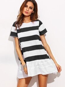 Contrast Striped Drop Waist Dress