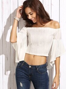 White Lace Applique Fringe Bell Sleeve Off The Shoulder Top
