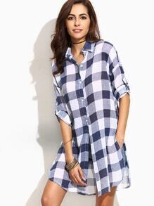 Navy Checkerboard Drop Shoulder Roll Tab Sleeve Blouse