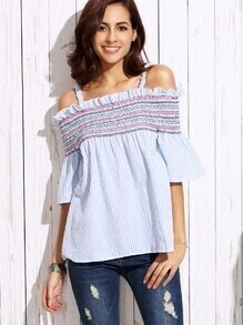 Blue Vertical Striped Smocked Cold Shoulder Top