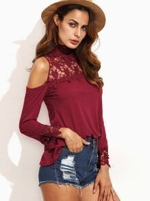 Red Crochet Insert Cold Shoulder Top