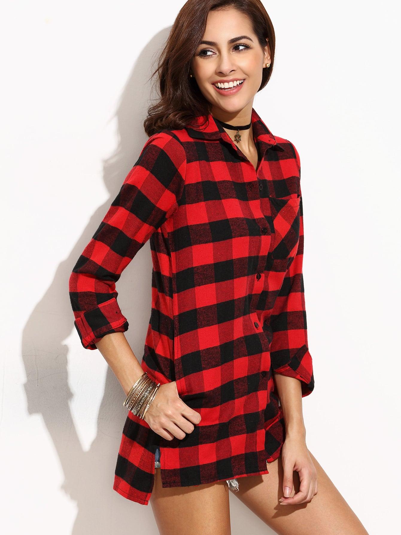 Blouse asym trique fendu carreaux noir rouge french romwe for Interieur paupiere inferieure rouge