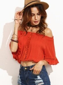 Orange Off The Shoulder Crochet Insert Ruffle Blouse