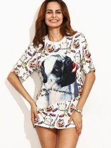 White Dog and Cartoon Print T-shirt