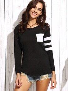 Black Asymmetric Striped Sleeve T-shirt With Pocket