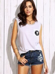White Contrast Trim Alien Print Pocket Tank Top