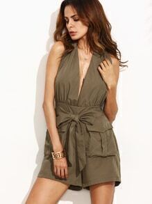 Army Green Halter Self Tie Pockets Romper