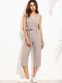 Grey V Neck Self Tie Zipper Back Sleeveless Jumpsuit