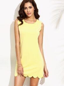 Yellow Scalloped Sleeveless Dress