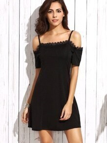Black Cold Shoulder Lace Trim Dress