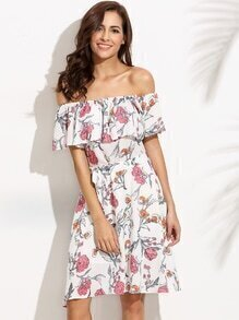 White Off The Shoulder Floral Print Self Tie Ruffle Dress