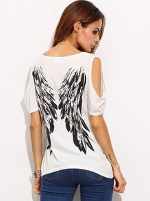 Ivory Open Shoulder Wings Print Back T-shirt