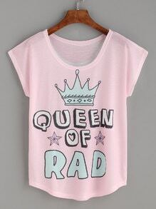 Pink Imperial Crown Letters Print T-shirt