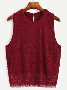 Burgundy Keyhole Back Lace Sleeveless Top